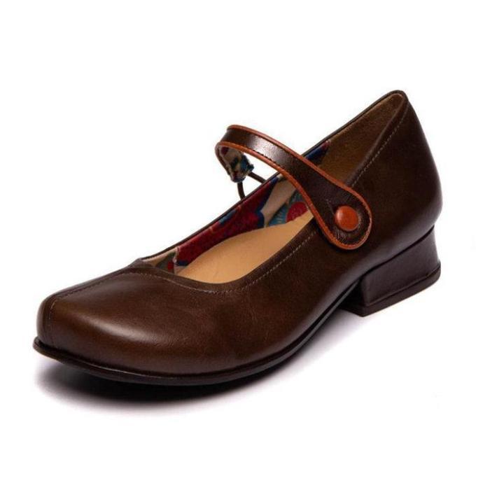 Women Vintage Closed Toe Low Heels Faux Leather Sandals