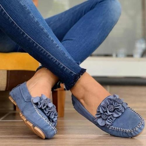 Women Comfy Slip-on Flower Suede Loafers