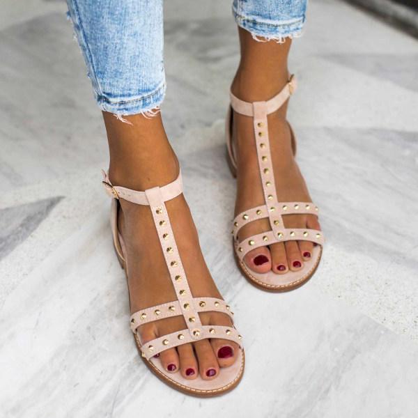 Women's buckle rivet sandals