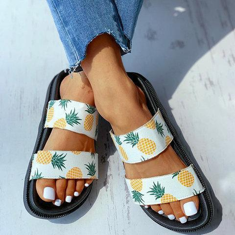 Women Slide PVC Pineapple Printed Home Wear Sandals