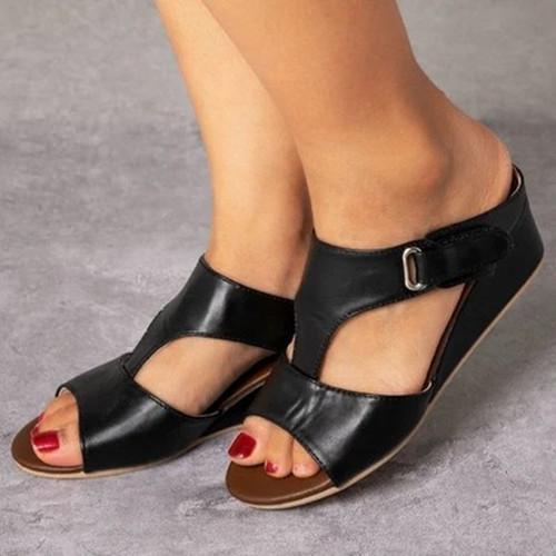 Buckle Peop Toe Wedge Sandals