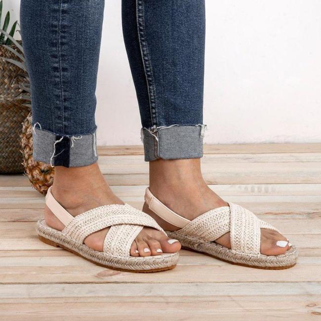 Weaving Espadrille Sandals Elastic Band Slip-On Sandals