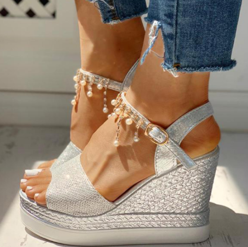 2020 New Women Summer Bead Studded Detail Platform Wedge Sandals