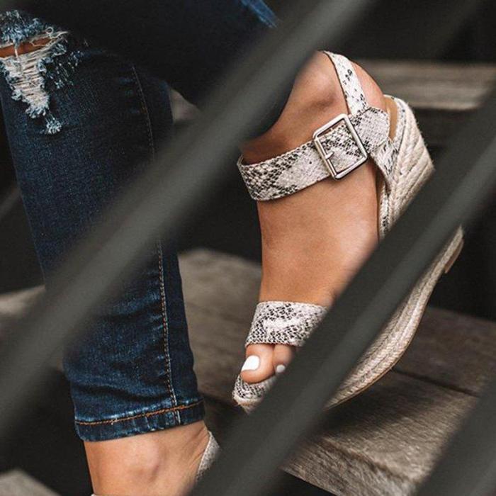 Women Elegant Adjustable Buckle Espadrille Wedges Sandals