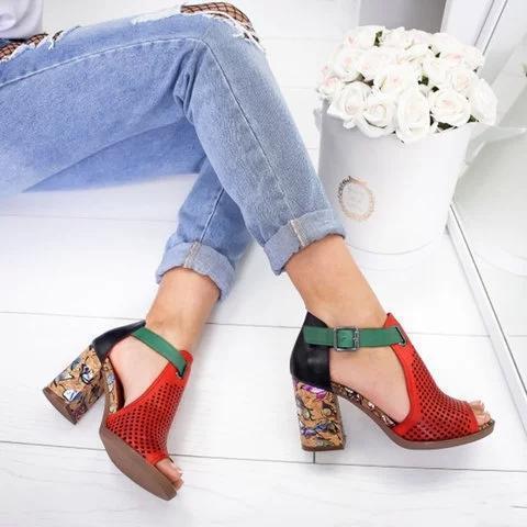 Women Peop Toe Elegant Chunky Sandals