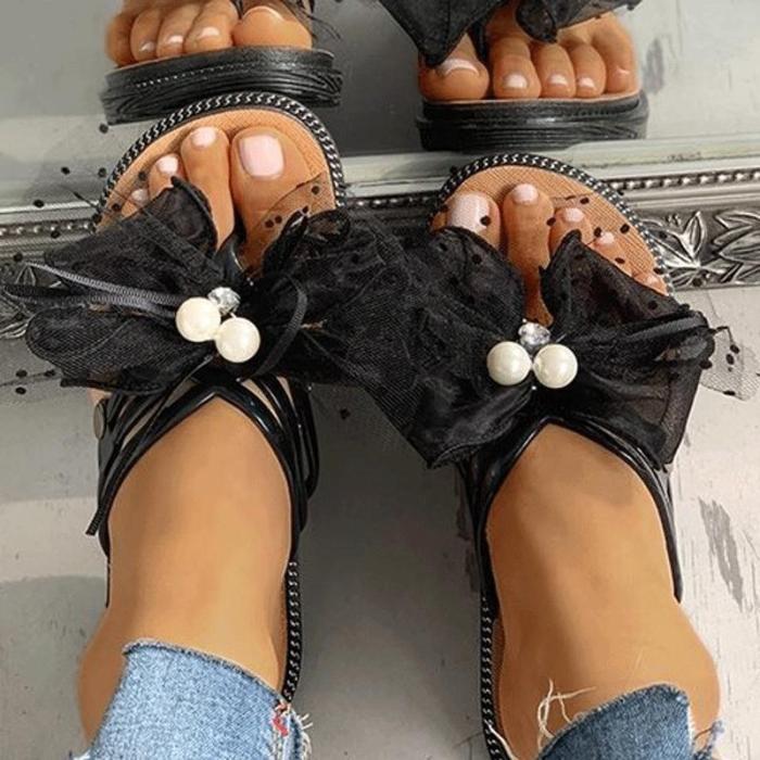 Bow slippers slip-on slippers