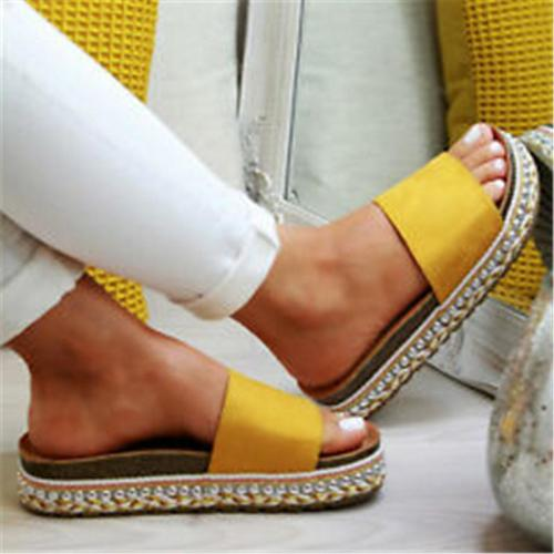 Women Plus Size Peep Toe Platform Sandals Slip-On Sandals