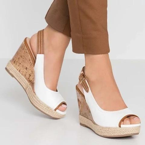 Plus Size Leather Peep Toe Wedge Heel Sandals