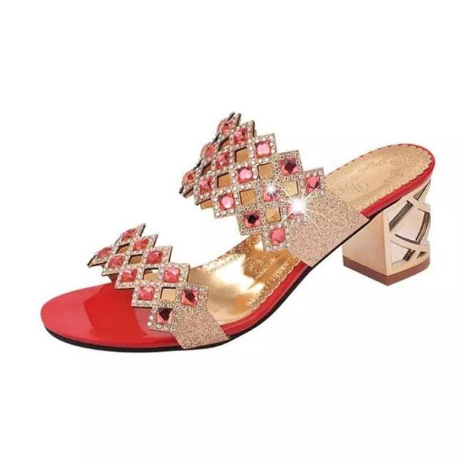 Women Fashion Rhinestones Bling Slip On Chunky Heel Slippers
