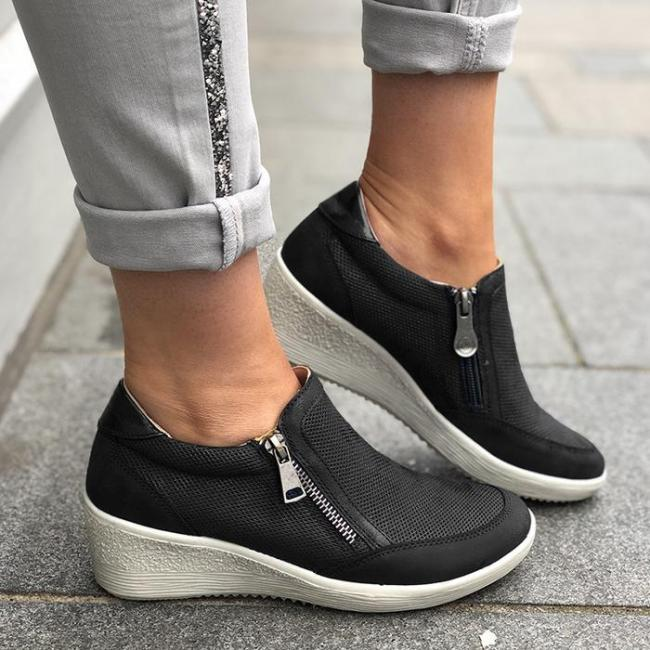 WEDGE ROUND TOE WOMEN CASUAL MESH FABRIC ZIPPER SNEAKERS