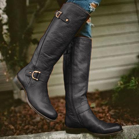 Retro Low Heel PU Zipper Boots Women Warm Boots