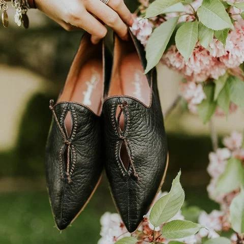 Pointed Toe Daily Loafers Flat Heel Forest Shoes