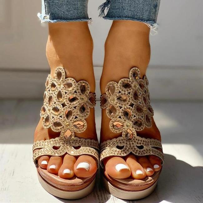 Studded Platform Wedge Casual Slingback Sandals