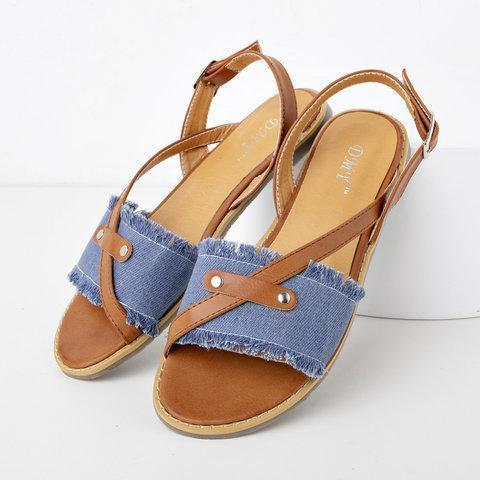 Womens Canvas Casual Flat Heel Buckle Sandals