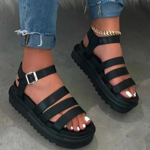 Buckle Platform Open Toe Ankle Strap Plain Platform Sandals