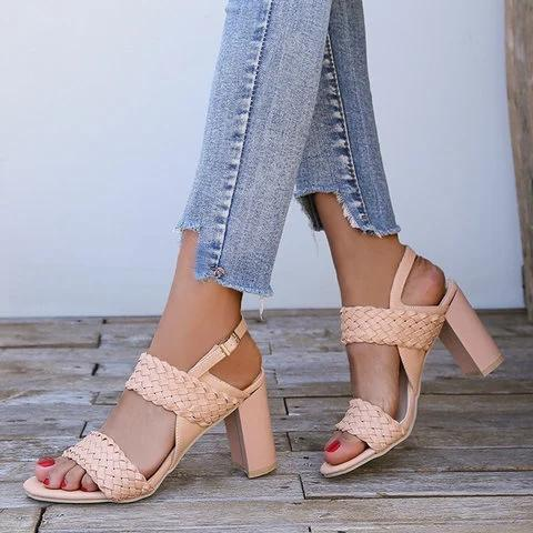 Women Peep Toe Chunky Heel Date Buckle Summer Sandals