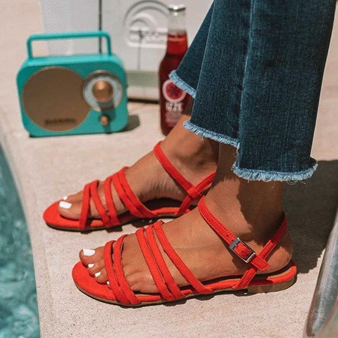 Casual Suede Flat Heel Sandals