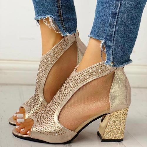 Women Fashion Rhinestone Zipper Chunky Sandals