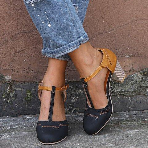 Women Vintage Color Block Sandals Casual Chunky Heel Buckle Sandals Shoes