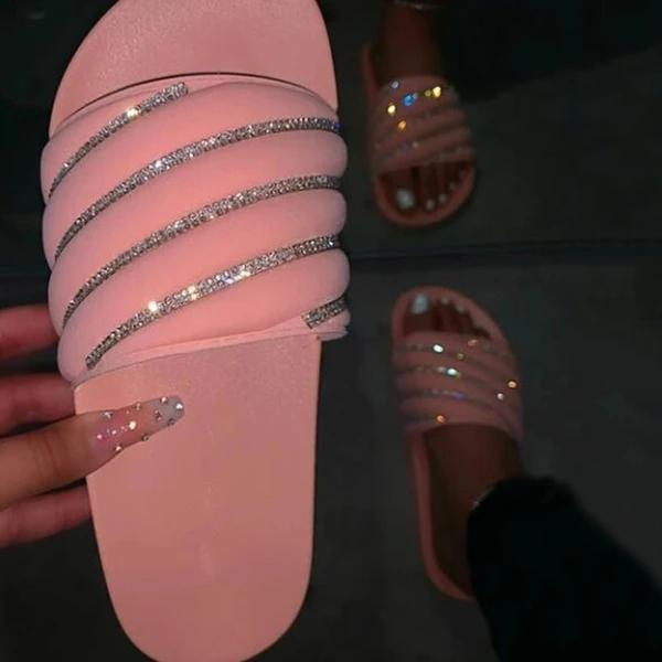 Flat With Rhinestone Flip Flop Slip-On Summer Slippers