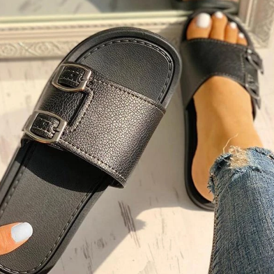 Woman Fashion Sofiawears Adjustable Strap Buckle Slide Sandals