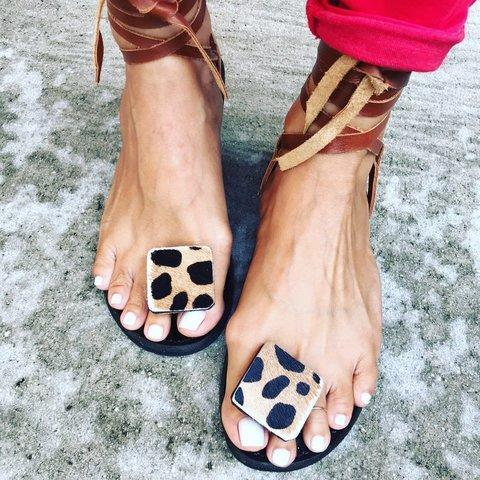Women Lace Up Leopard Sandals