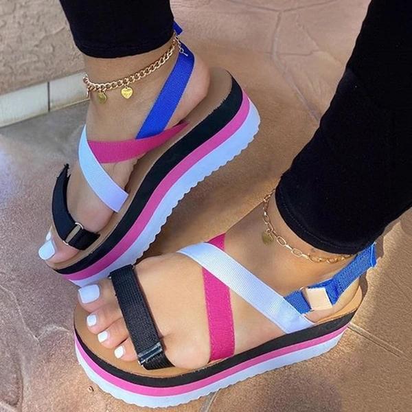 Strappy Velcro Open Toe Platform Platform Color Block Sandals