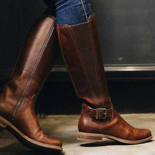 Womens Casual Chunky Heel Winter PU Knee Boots