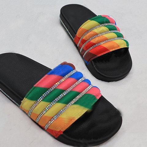 Rhinestone Flat Heel Open Toe Casual Slippers
