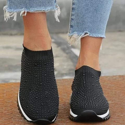 Black All Season Slip-On Women's Rhinestone Sneakers