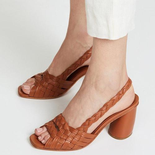 Women Summer PeopToe Chunky Heel Sandals