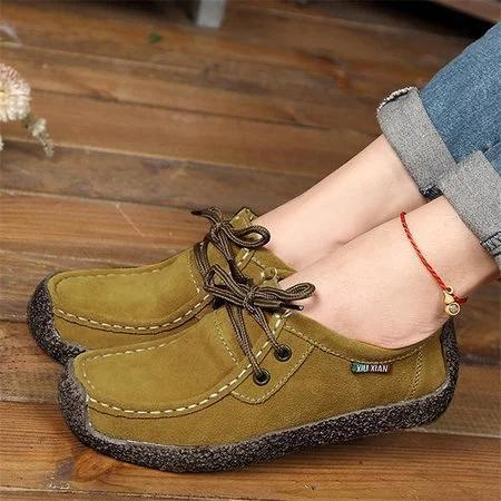 Women's Shoes Suede Casual Flat Heel Lace-up Loafers