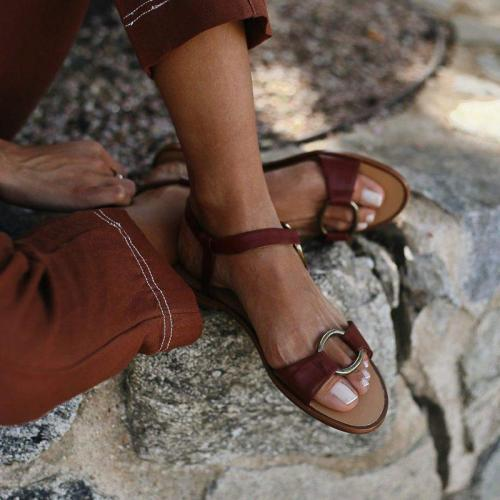 Open Toe Adjustable Buckle Casual Flat Heel Sandals