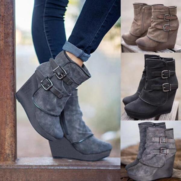 Women's Winter Ankle Zipper Buckle Platform  Boots