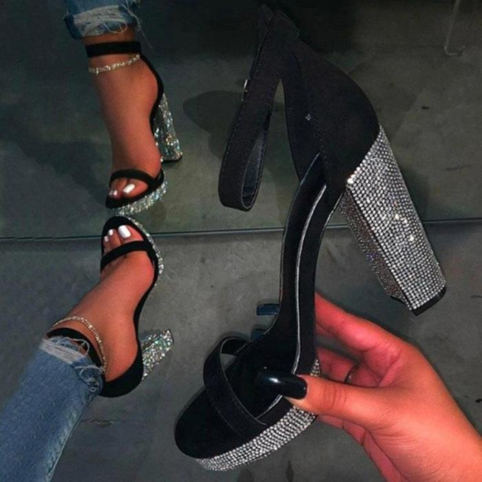 Open Toe Line-Style Buckle Chunky Heel See-Through Sandals