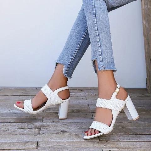 Women Peep Toe Chunky Heel Date Buckle Summer Sandals