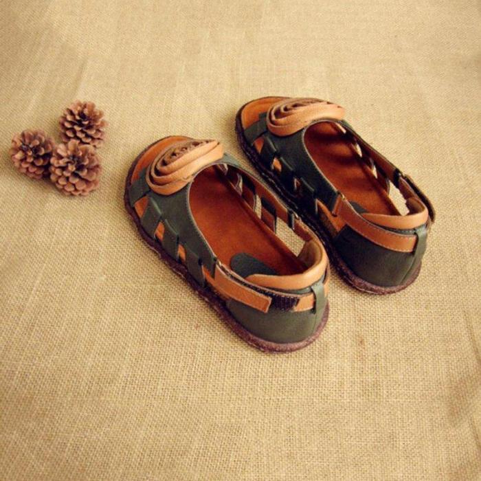 Women Handmade Hollow-out  Flat Heel Date Sandals