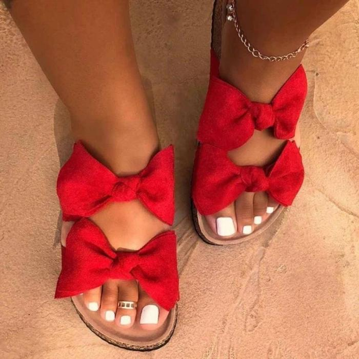 Flat With Flip Flop Slip-On Bow Plain Summer Slippers