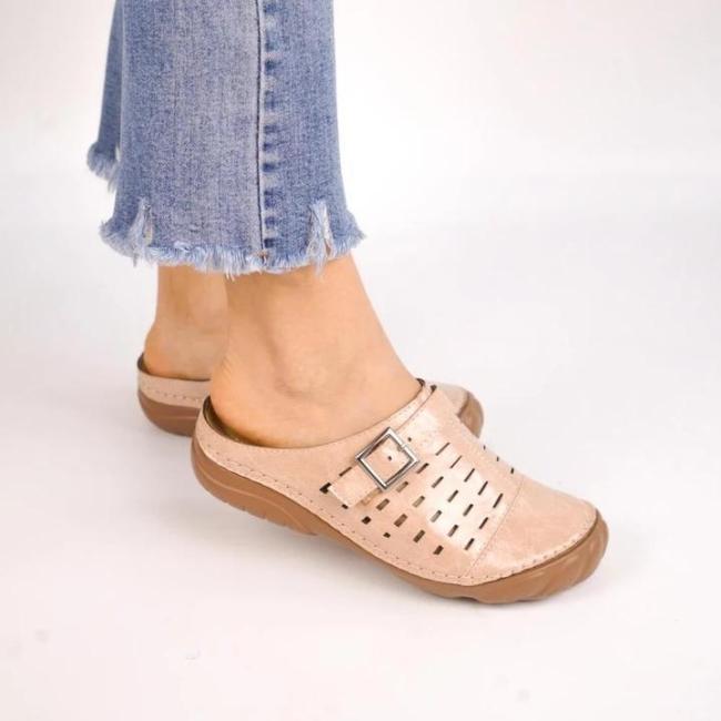 Women Metal Buckle Soft Leather Open Heel Casual Wedges Mule Sandals