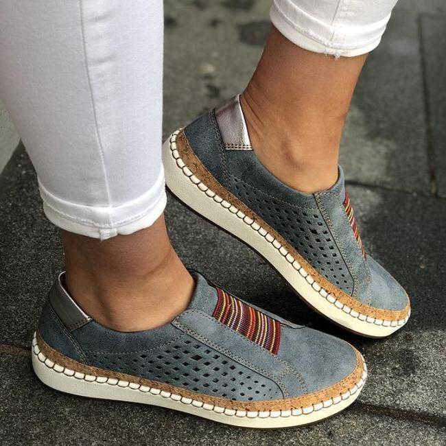 Flat Heel Hollow-Out Round Toe Sneakers