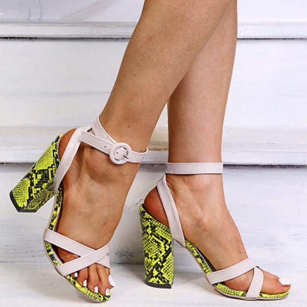 Women Sexy Snake Skin Printed Heel Sandals