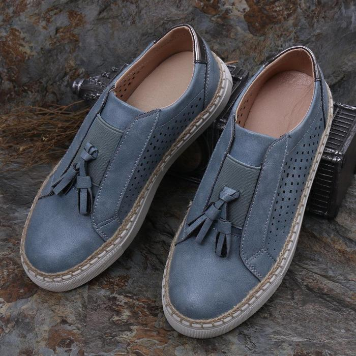 Large Size Women Breathable Hollow Tassel Straw Soft Flats