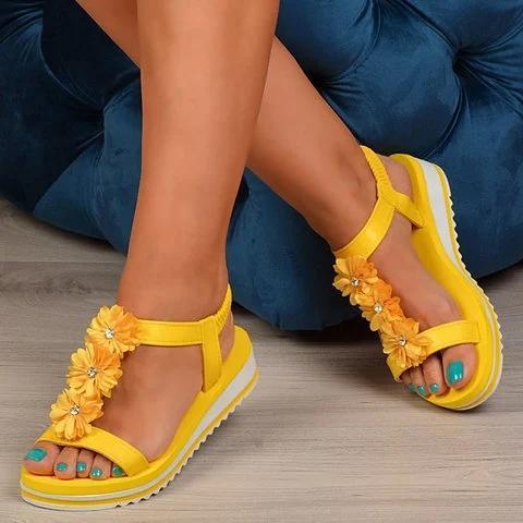 Women Casual Flower Comfy Summer Slip On Sandals