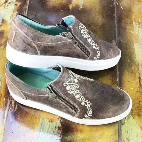 Women Ladies Vintage Brown Crater Sneaker