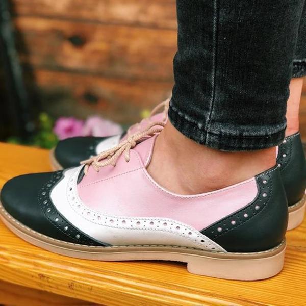Fashion Flat Round Toe Lace-up Flats