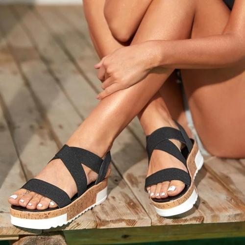 Women Elastic Band Cross-strap Open Toe Creepers Platform Sandals