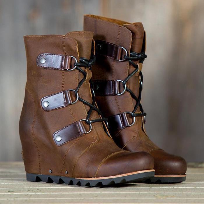 Women's Wedge Mid Waterproof Leather Boots