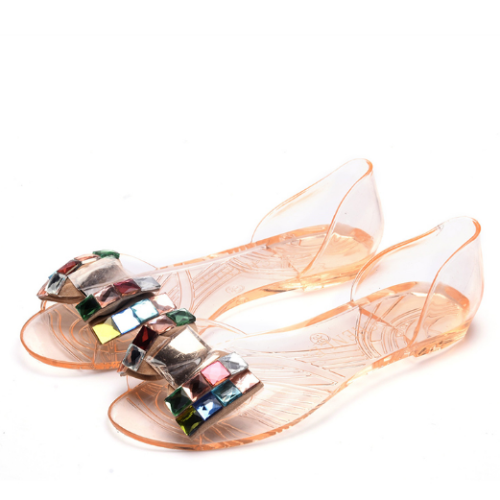 2020 Woman Summer Peep Toe Transparent Bling Sandals