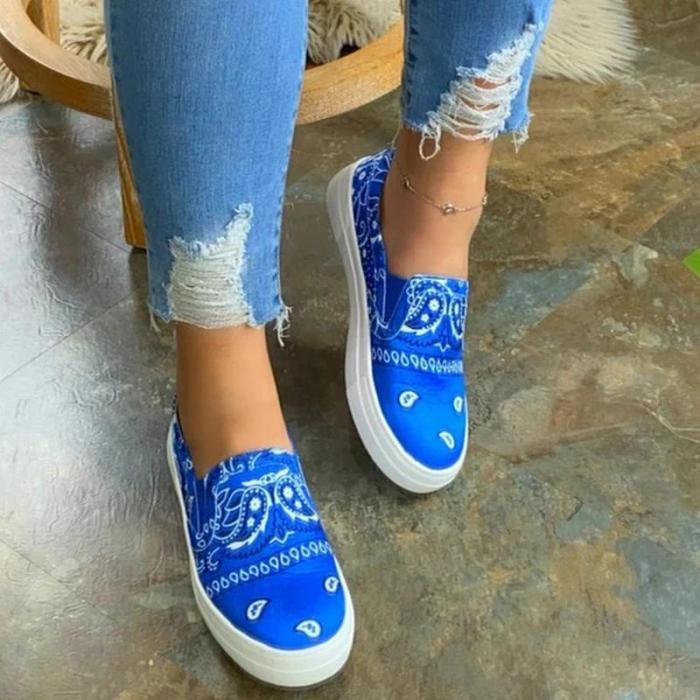 Women Fabric Characteristic Pattern Slip On Platform Skate Loafers