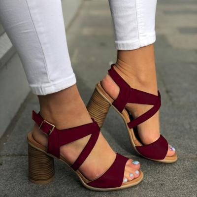 Women Chunky Heel Buckle Strap Pumps Sandals